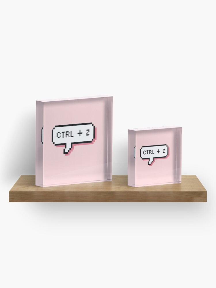 Alternate view of CTRL + Z - Pixel Speech Bubble - (Pink) Acrylic Block