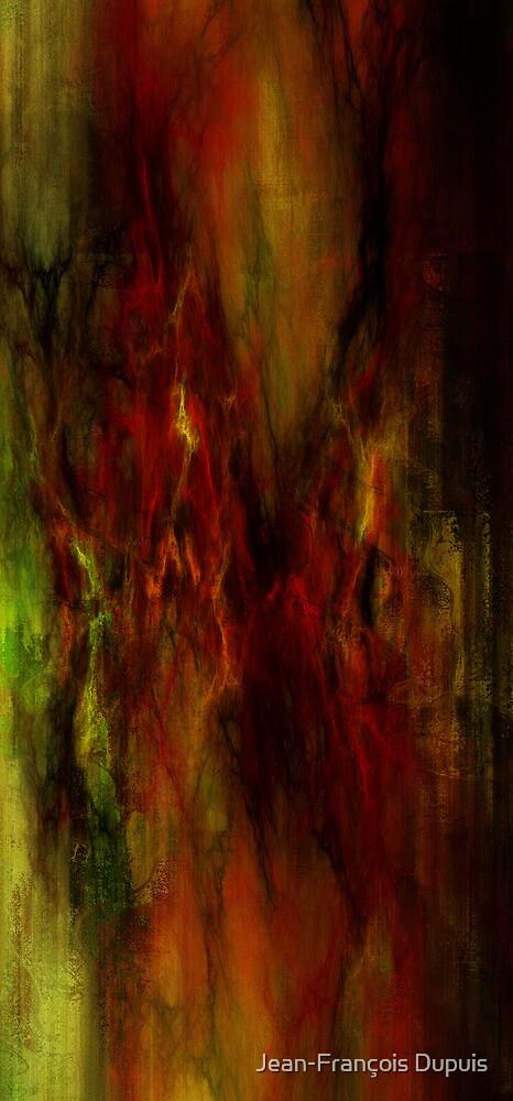 Abstraction rouge et vert by Jean-François Dupuis