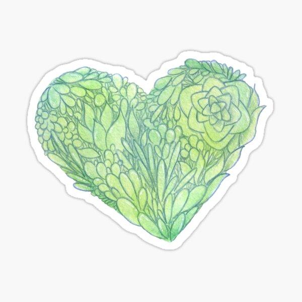 Succulent Plant Love Heart Sticker
