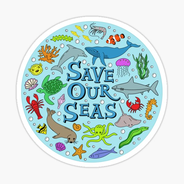 Save Our Seas Save The Ocean Illustration Sticker