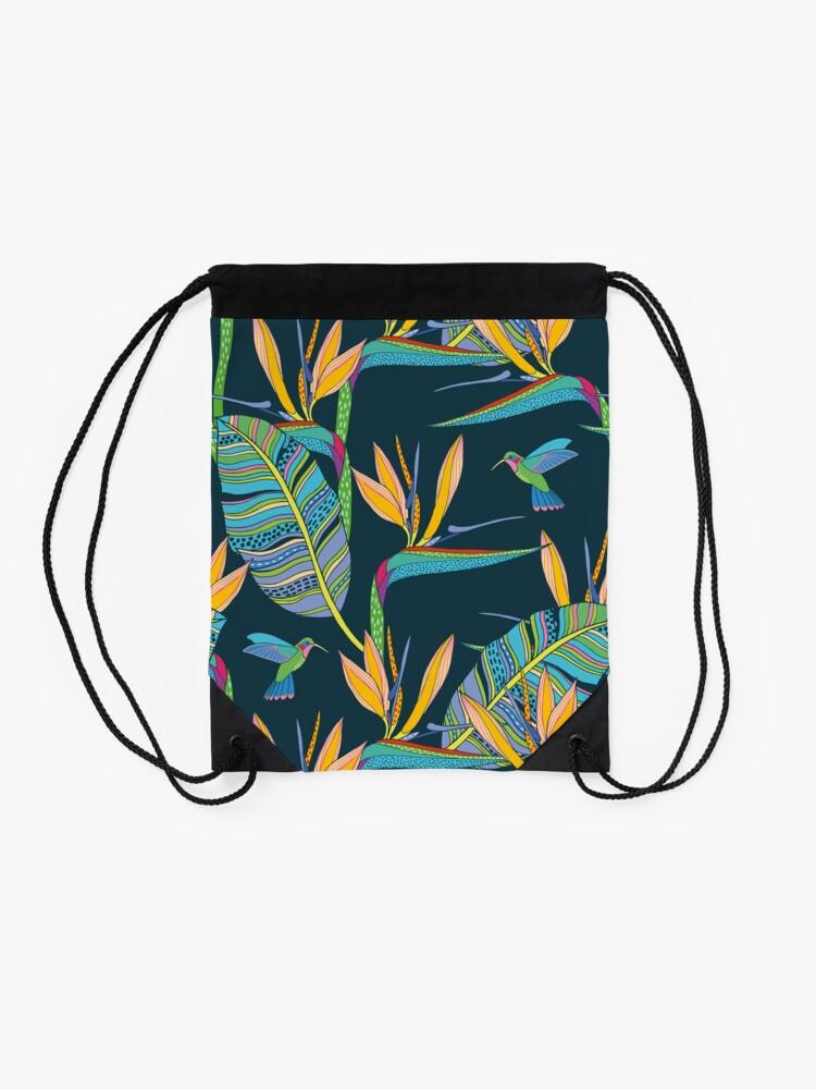 Alternate view of Bohemian Birds of Paradise Drawstring Bag