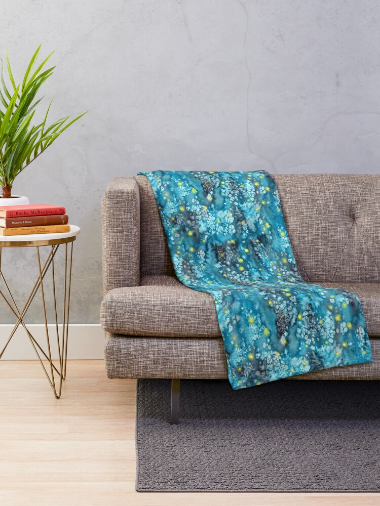 Alternate view of watercolor texture with fireflies Throw Blanket