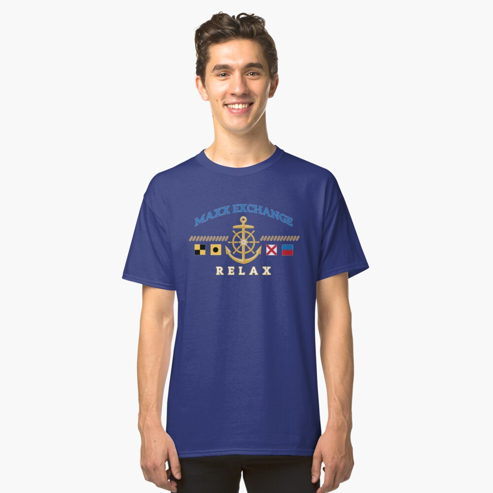 Nautical Flags, Helm, Anchor, Relax.  Classic T-Shirt Front