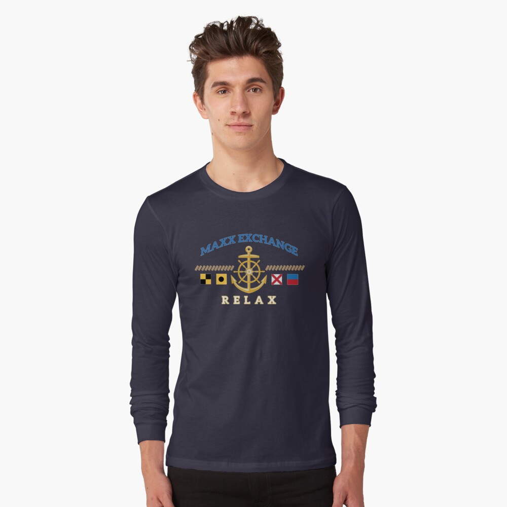 Nautical Flags, Helm, Anchor, Relax.  Long Sleeve T-Shirt Front