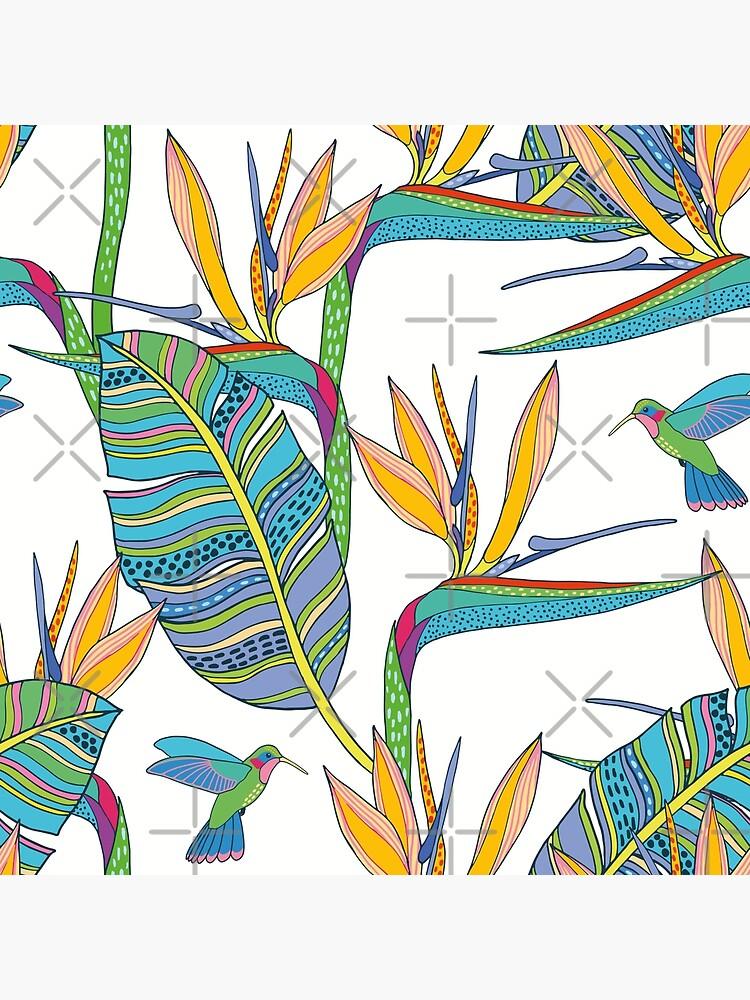 Bohemian Birds of Paradise on white by nadyanadya