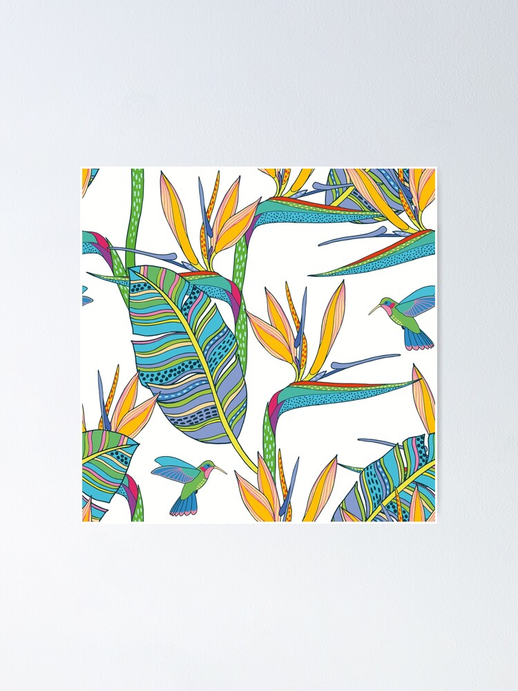 Alternate view of Bohemian Birds of Paradise on white Poster