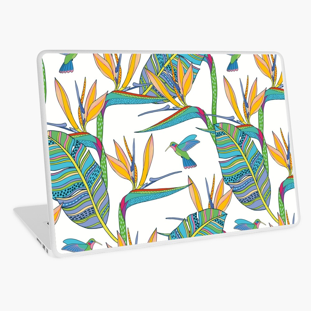 Bohemian Birds of Paradise on white Laptop Skin