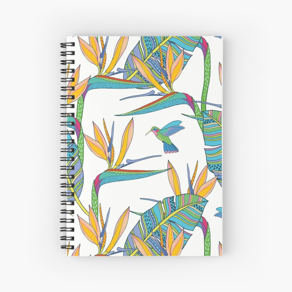 Bohemian Birds of Paradise on white Spiral Notebook