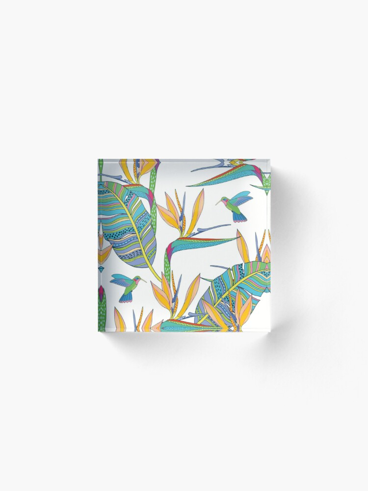 Alternate view of Bohemian Birds of Paradise on white Acrylic Block