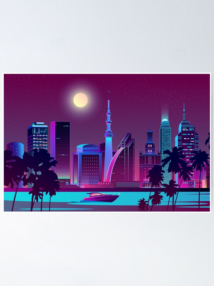 Vaporwave Cityscape With River At Night Poster By Kanae19 Redbubble
