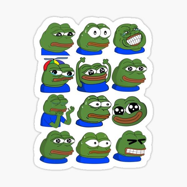 Pepe Overload - White Outline Sticker
