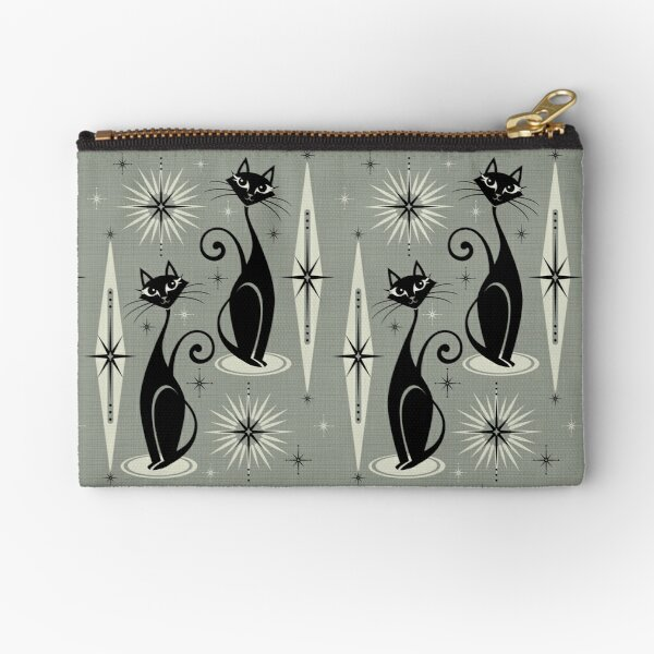 Mid Century Meow on Gray Zipper Pouch