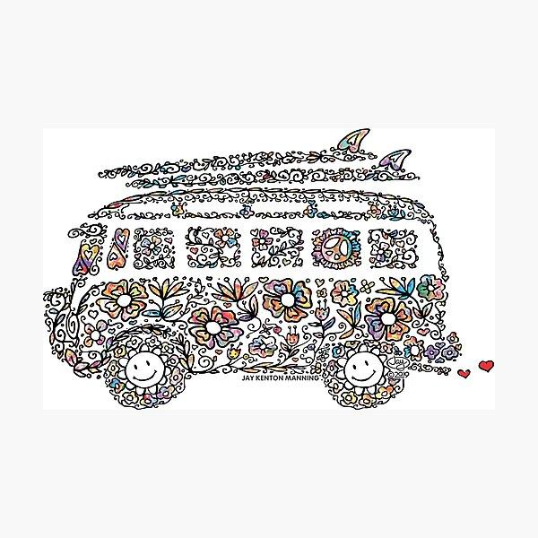 Groovy Doodle Van- (Black line with flowers) Photographic Print