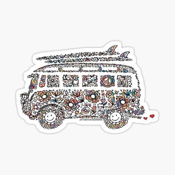 Groovy Doodle Van- (Black line with flowers) Sticker
