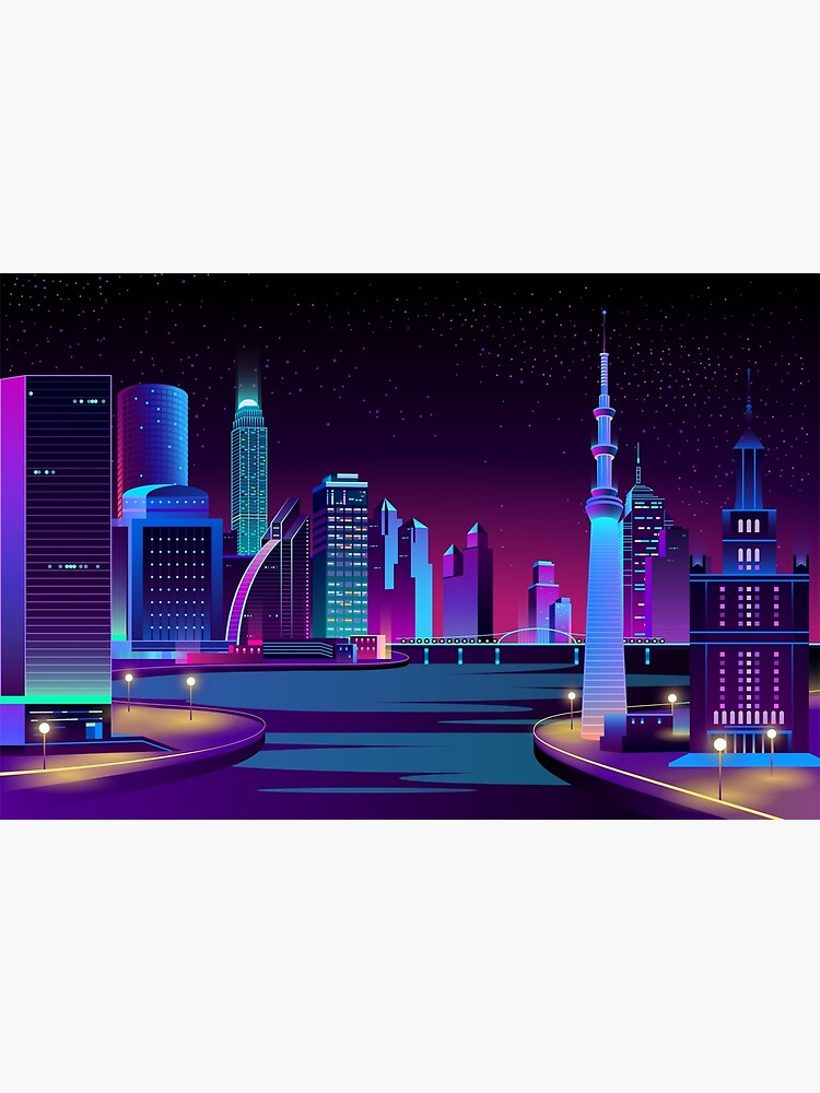 Vaporwave Cityscape With The Sea At Night Greeting Card By Kanae19 Redbubble