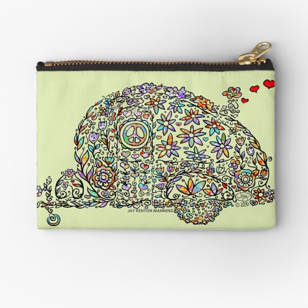 Groovy Doodle Camper- (Black line with flowers) Zipper Pouch