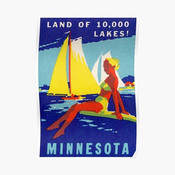 1940 Minnesota, Land of 10,000 Lakes Poster