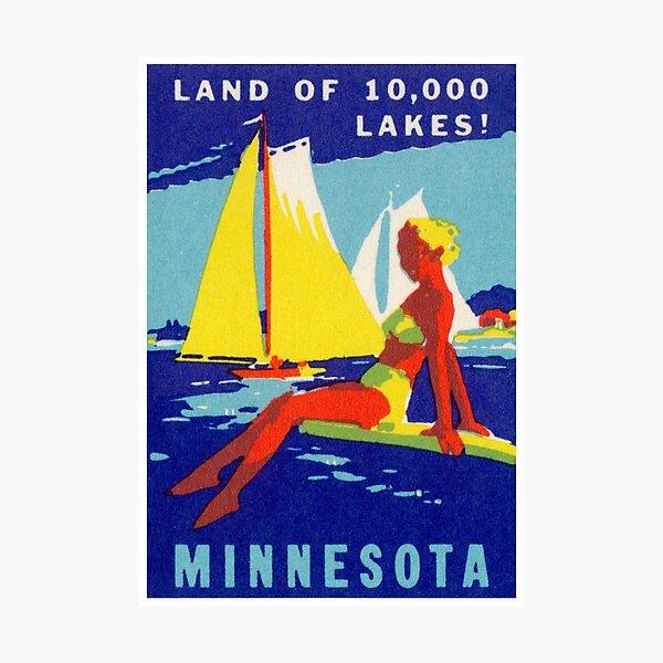 1940 Minnesota, Land of 10,000 Lakes Photographic Print