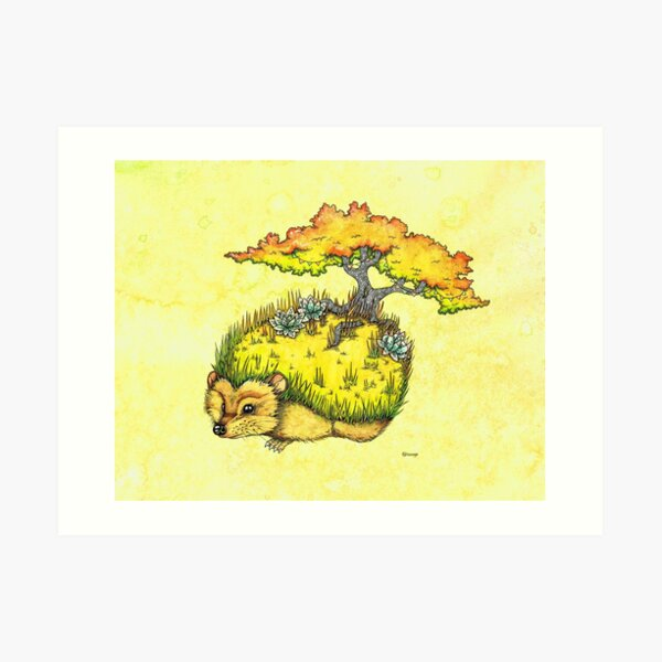 Hedgehog Garden Art Print