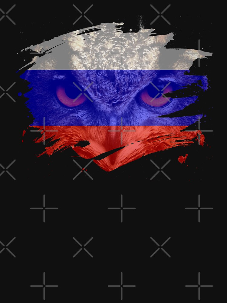 Russia Flag and Menacing Owl by ockshirts