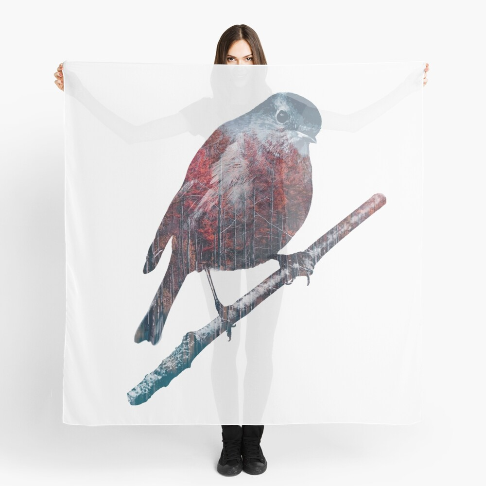 Forest Robin on a Branch  Scarf