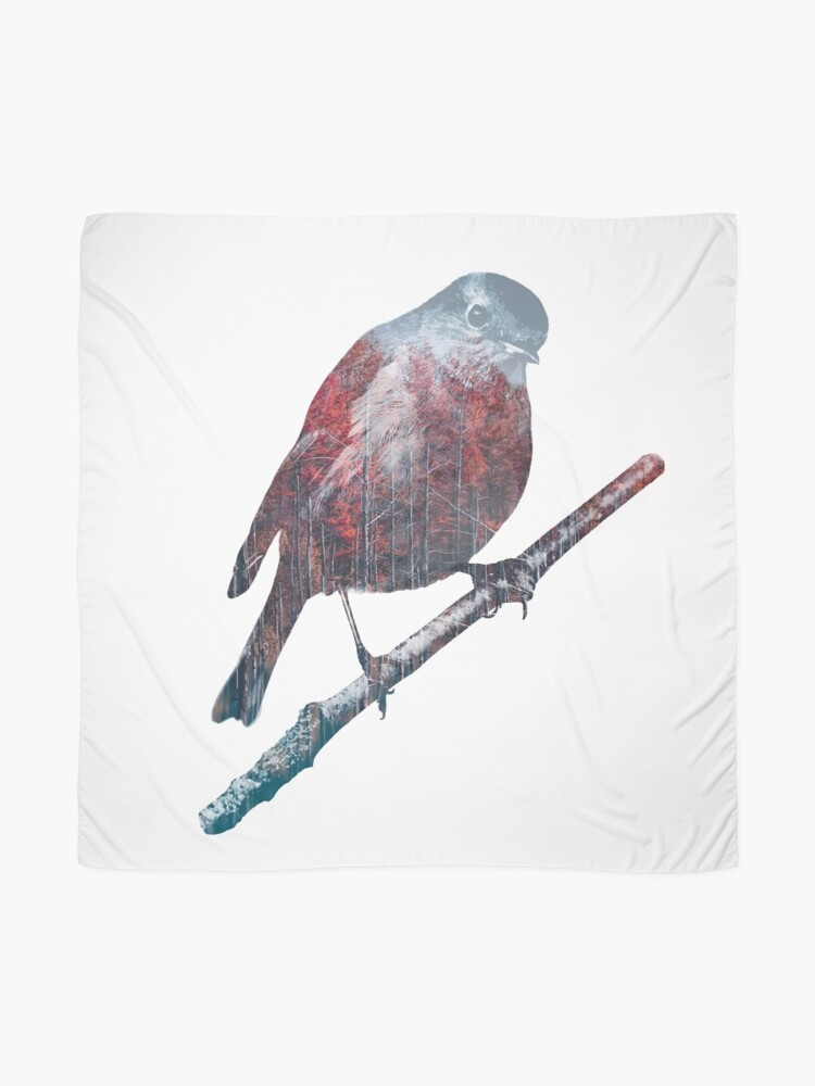 Alternate view of Forest Robin on a Branch  Scarf