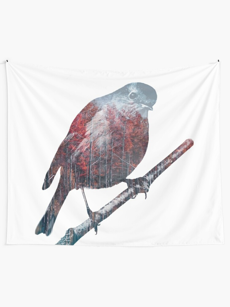 Alternate view of Forest Robin on a Branch  Tapestry