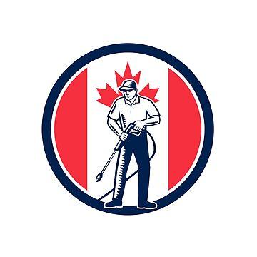 Canada Pressure Washing Flag Circle Retro by patrimonio
