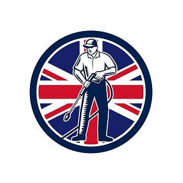 British Pressure Washing Union Jack Flag Circle Retro by patrimonio