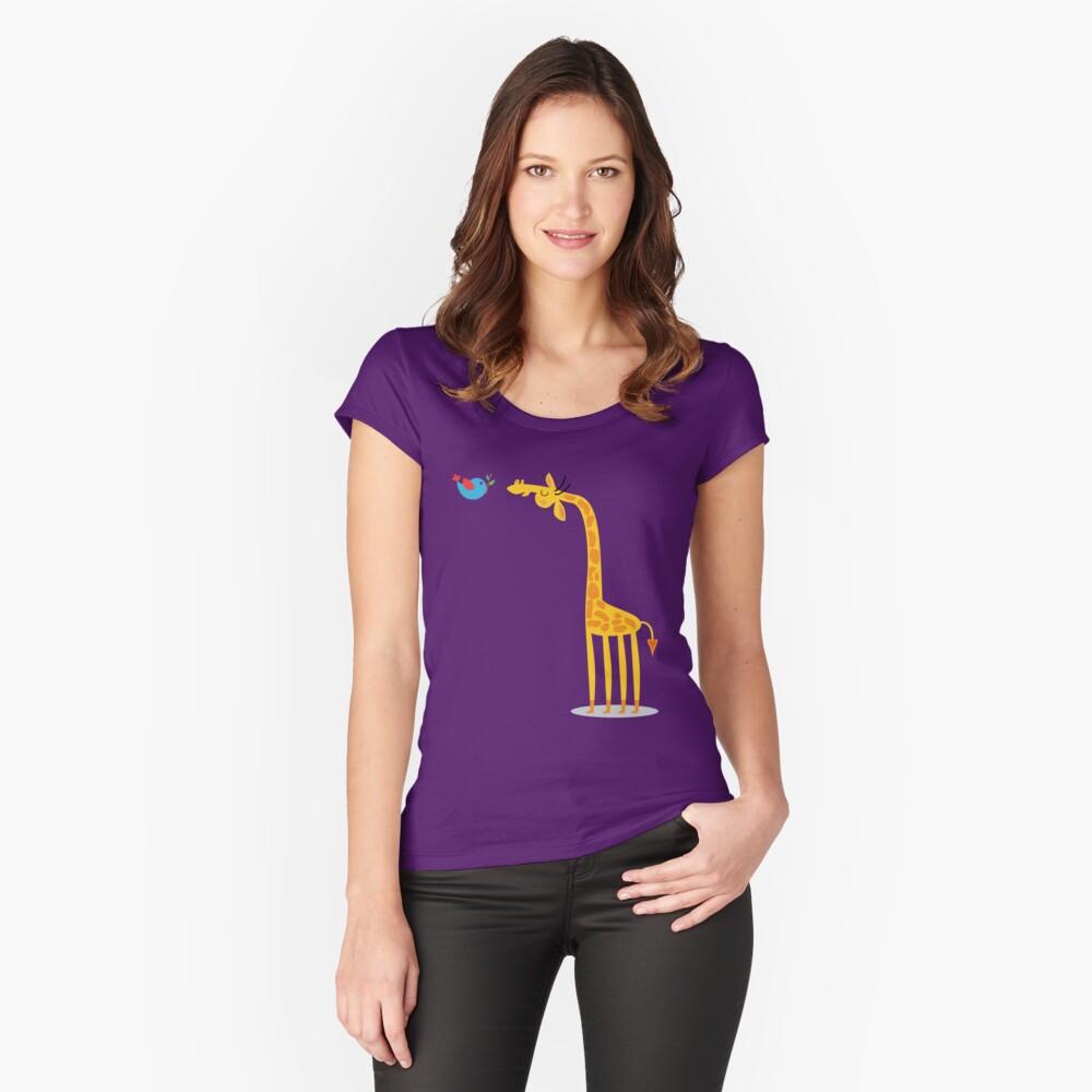 Cartoon giraffe and bird Women's Fitted Scoop T-Shirt Front