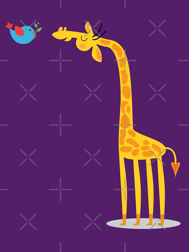 Cartoon giraffe and bird by mrhighsky
