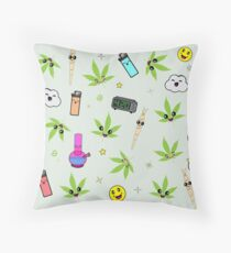 Super awesome Cute Stoner weed stuff Throw Pillow