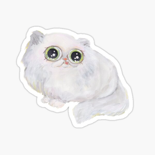 BIG EYES PERSIAN chinchilla white CAT DERPY KITTY Sticker