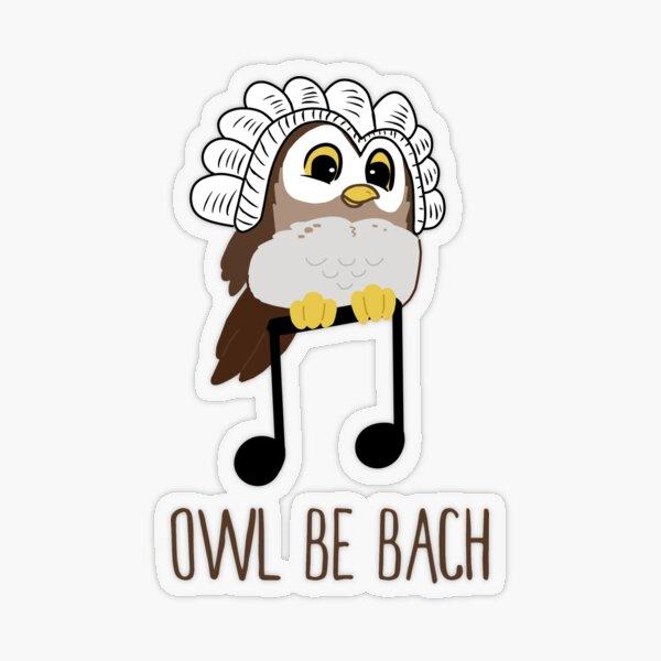 Owl Be Bach   funny cute musician bird note Transparent Sticker