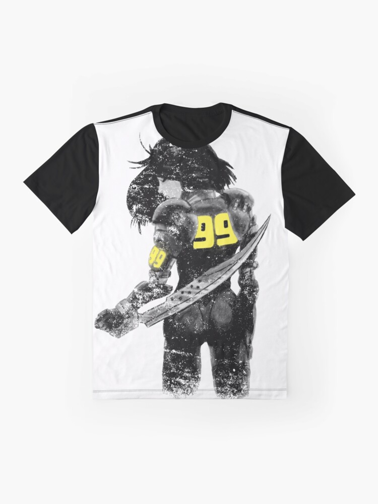 Alternate view of Copy of Manga Angel watercolor distressed in black and white Graphic T-Shirt