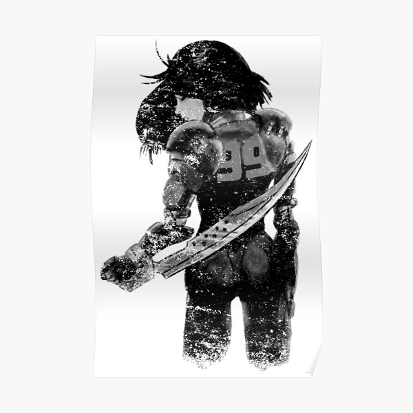 Manga Angel watercolor distressed in black and white Poster