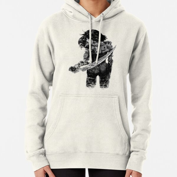 Manga Angel watercolor distressed in black and white Pullover Hoodie
