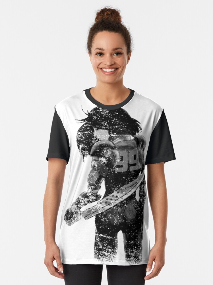 Alternate view of Manga Angel watercolor distressed in black and white Graphic T-Shirt