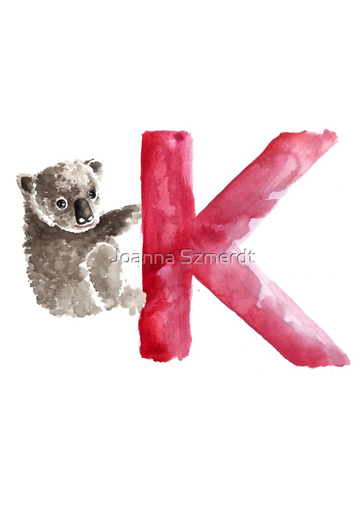 Koala watercolor alphabet poster by Joanna Szmerdt