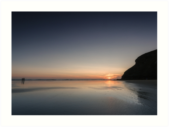 Last light at Mawgan Porth,North Cornwall by Lucy Davey