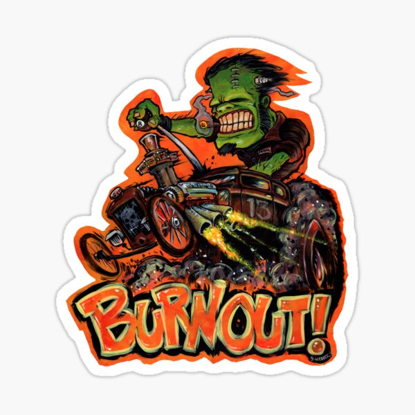 BURNOUT Hot Rod Monster Art Sticker