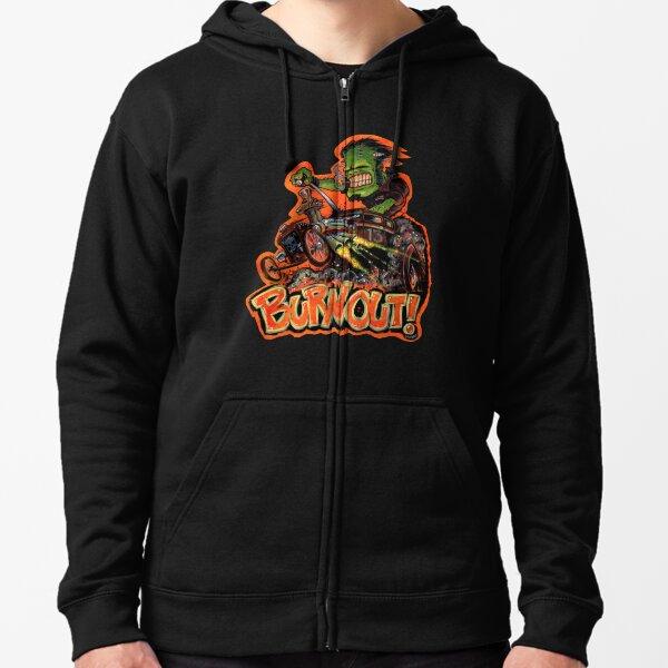 BURNOUT Hot Rod Monster Art Zipped Hoodie