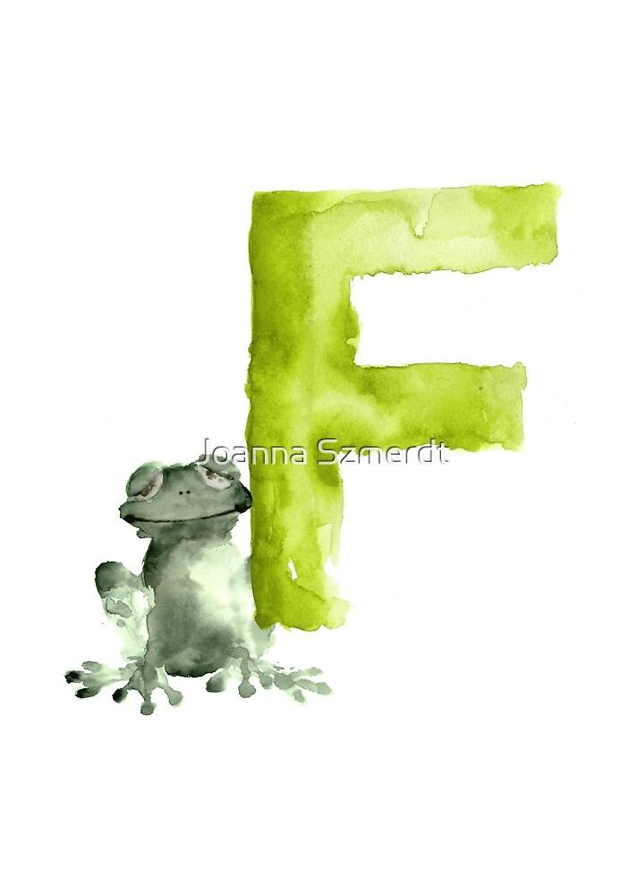 Frog watercolor alphabet painting by Joanna Szmerdt