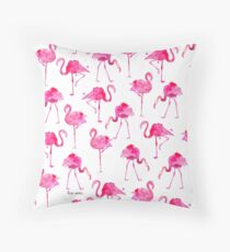 Floridian Flamingos - White Throw Pillow