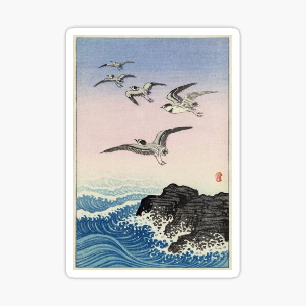 Five Seagulls Above Rock In The Sea By Koson Sticker