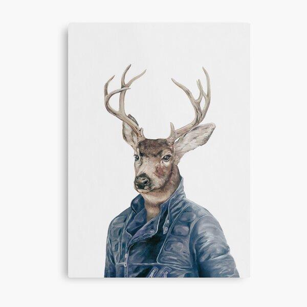Deer in Navy Blue Metal Print