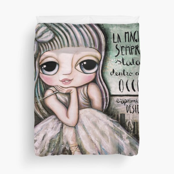 Fairy white hair and big eyes art by Margherita Arrighi Duvet Cover