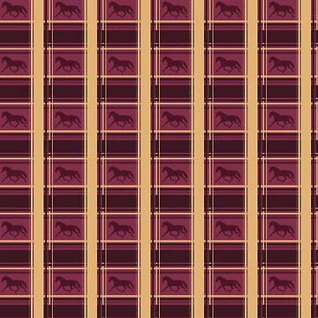Purple Plaid Horse Pattern by PaintingPony