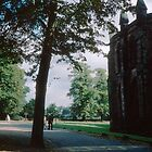 Marjories shot of  Walking at rear of Lichfield Cathedral England 19840926 0028M  by Fred Mitchell