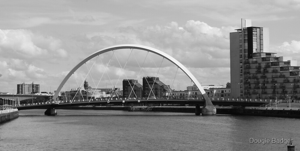 """The Clyde Arc """"The Squinty Bridge""""  Black and White by Dougie Badger"""